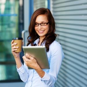 Woman Enjoying Dental Apps on her Free iPad